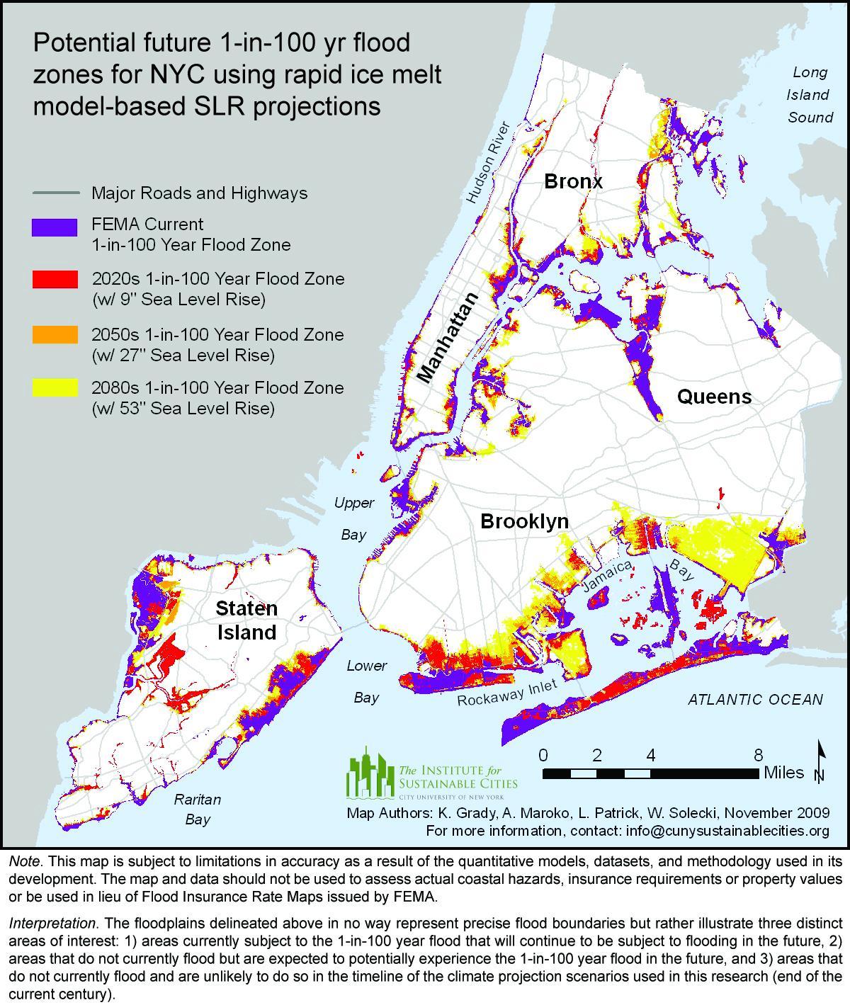 aumento del nivel del mar mapa de nueva york