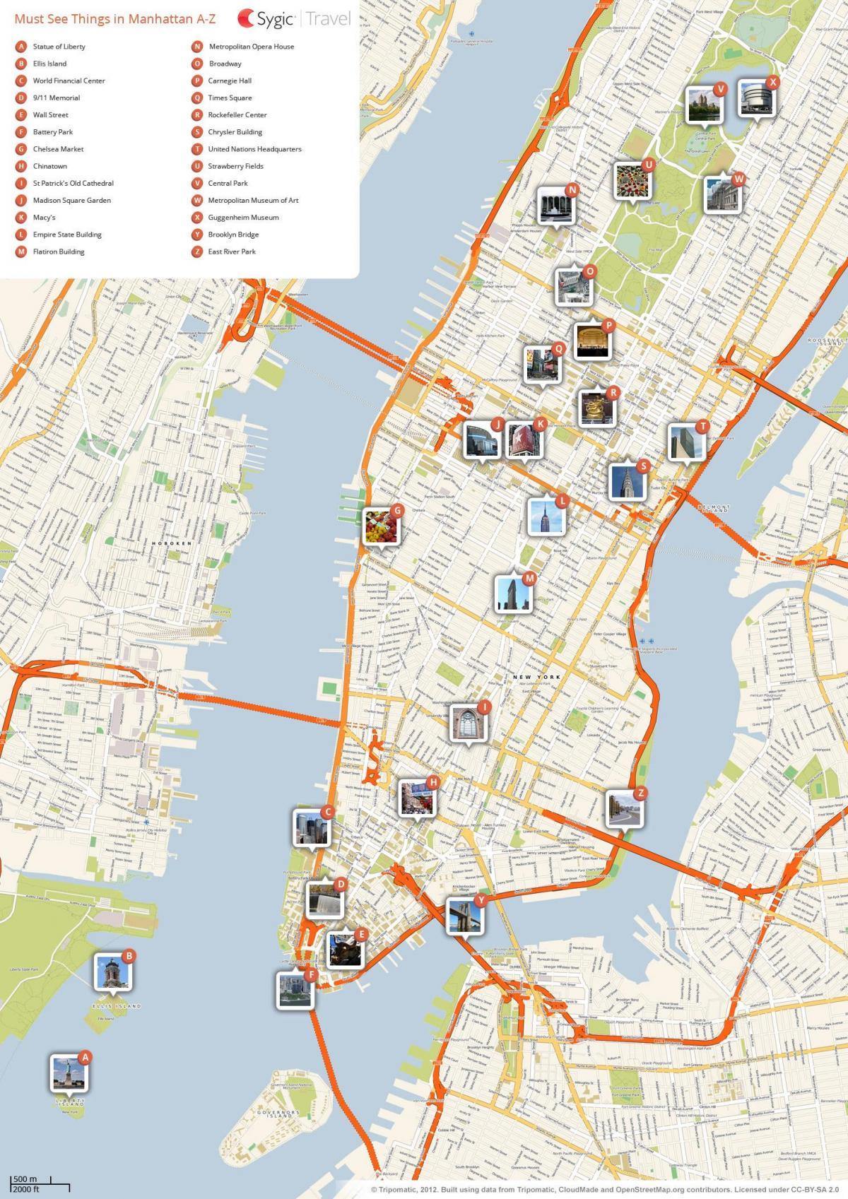 New York Mapa Turistico.La Ciudad De Nueva York Mapa Turistico De Nueva York Mapa De Lugares Nueva York Estados Unidos